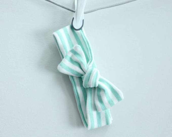 SALE headband baby mint stripe Organic knot by PETUNIAS  modern newborn shower gift photography prop outfit accessory girl