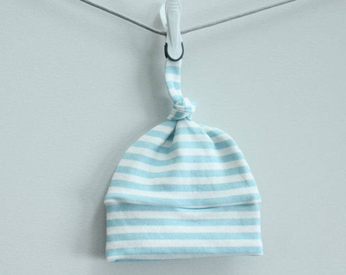 Baby Hat blue white stripe Organic knot PETUNIAS modern newborn baby shower gift photo prop hospital outfit accessory