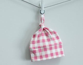 Baby Hat pink buffalo check plaid Organic knot PETUNIAS modern newborn baby shower gift photo prop hospital outfit accessory