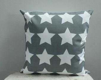 grey star Pillow cover 18 inch gray 18x18 modern hipster accessory home decor nursery baby gift present zipper canvas ready to ship