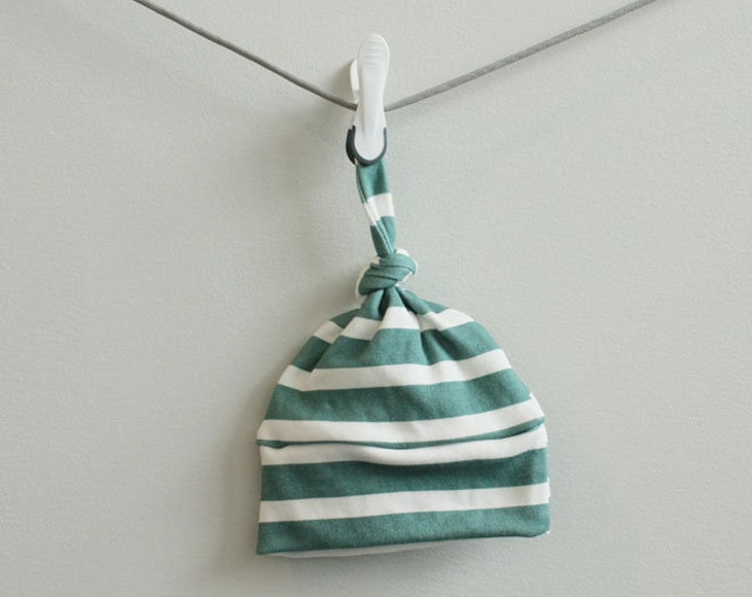 baby hat teal stripe Organic knot modern newborn shower gift photography prop hospital outfit accessory neutral girl boy