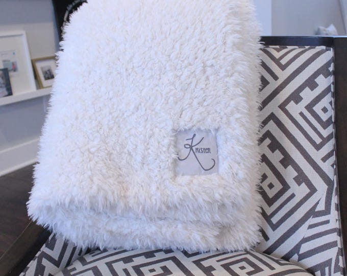 Faux Fur throw blanket personalized double sided llama fur gift cloud blanket rose denim ivory grey  gift plush photo prop tween teen