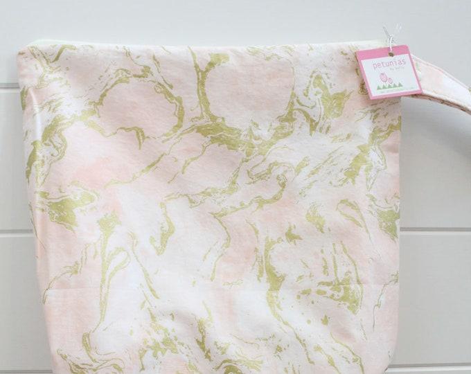 wetbag Wet bag ICKY Bag XL peach gold marbel PETUNIAS diaper bag cloth diapers sack large wet proof zipper handle gym bag travel swim pool