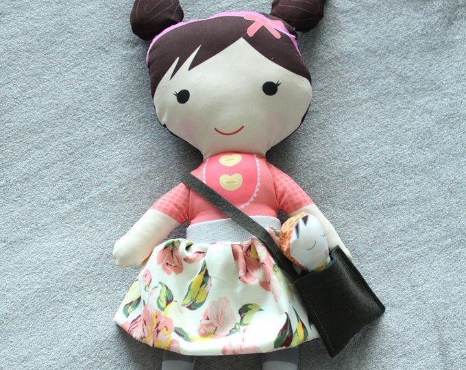 Stuffed Doll pigtails skirt bag baby rag doll doll young girl birthday gift brunette pink floral skirt grey stripe leggings cloth fabric