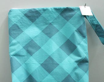 Sale wetbag Wet bag ICKY Bag XL teal plaid PETUNIAS diaper bag cloth diapers sack large wet proof zipper handle gym bag travel swim pool