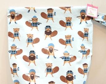 wetbag Wet bag ICKY Bag XL lumberjack beaver PETUNIAS diaper bag cloth diapers sack large wet proof zipper handle gym bag travel swim pool