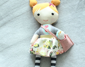 Stuffed Doll pigtails skirt bag baby rag doll doll young girl birthday gift blond pink floral skirt grey stripe leggings cloth fabric