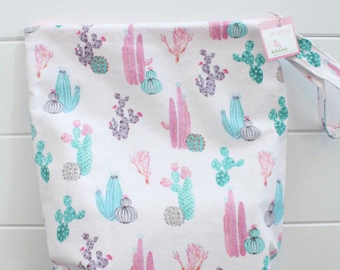wetbag Wet bag ICKY Bag XL pink cactus PETUNIAS diaper bag cloth diapers sack large wet proof zipper handle gym bag travel swim pool