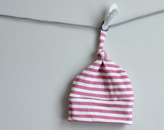 Stripe baby hat hot pink Organic knot hipster modern newborn shower gift photography prop hospital outfit accessory neutral girl boy
