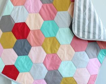 SALE Baby QUILT hexagon modern hipster by PETUNIAS heirloom vintge style blanket nursery decor vintage newborn shower gift room crib bedding