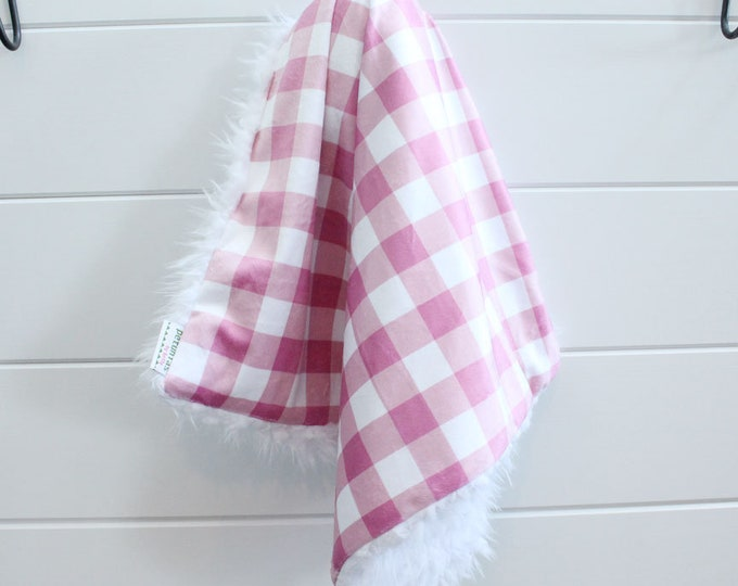 Lovey Blanket pink white buffalo check faux fur minky READY TO SHIP baby gift cloud blanket llama newborn gift plush photo toddler child