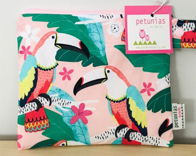 The ICKY Bag petite - wetbag - PETUNIAS by Kelly - parrots