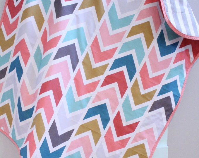 baby quilt blanket triangle blue green by PETUNIAS blanket crib nursery decor shower gift newborn photo prop hipster modern chevron gray