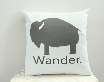 Pillow cover buffalo wander grey 18 inch 18x18 modern hipster accessory home decor nursery baby gift present zipper canvas ready to ship