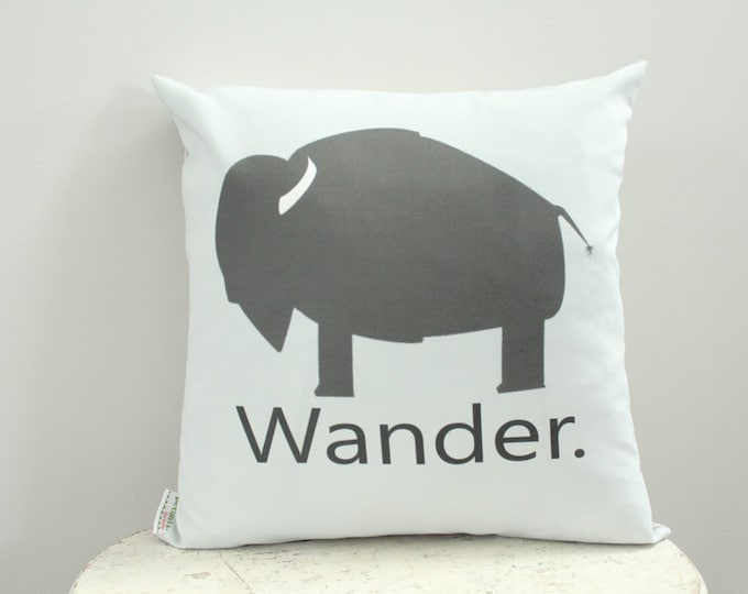 SALE Pillow cover buffalo wander grey 18 inch 18x18 modern hipster accessory home decor nursery baby gift present zipper canvas
