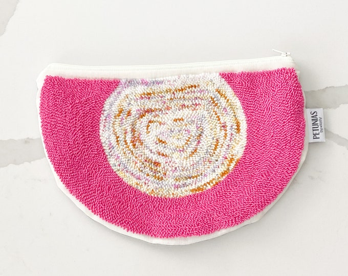 Clutch zipper pouch - punch needle - PETUNIAS by Kelly