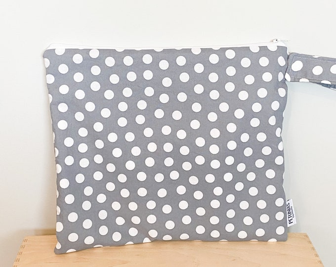 The ICKY Bag - wetbag - PETUNIAS by Kelly - grey dot