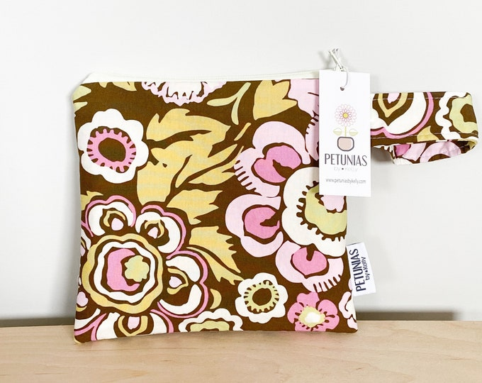 The ICKY Bag petite - wetbag - PETUNIAS by Kelly - brown pink floral