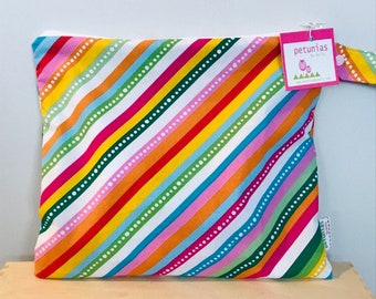 The ICKY Bag - wetbag - PETUNIAS by Kelly - rainbow stripe