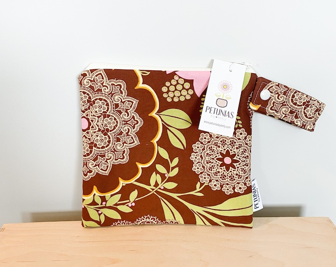 The ICKY Bag petite - wetbag - PETUNIAS by Kelly - brown lace floral