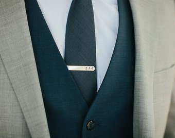 Wedding Personalized Tie Clip slide on metal men modern groomsmen father grandfather husband boyfriend friend gift present by PETUNIAS