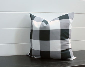 Pillow cover black white buffalo check 18 inch 18x18 modern accessory home decor nursery baby gift zipper closure canvas ready to ship