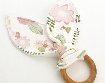 teething ring pink floral bunny ears wooden ring teether natural baby shower gift teething toy you pick color unique
