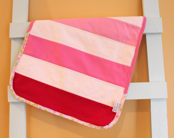 SALE Mini Baby Quilt stripe strip PETUNIAS One a kind lovie changing pad lovey blanket newborn photo prop hipster modern present toddler