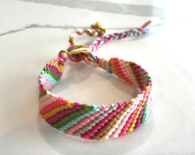 Friendship bracelet stripe boho pink turquoise teal coral woven summer style stackable handmade chunky knots