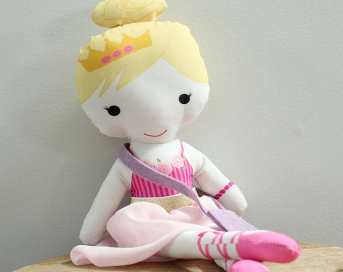 Ballerina Doll tutu bag bunny rag doll stuffed doll young girl birthday gift blond pink stripe leotard pink tutu skirt cloth doll fabric