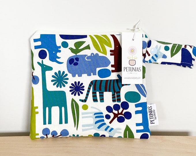 The ICKY Bag petite - wetbag - PETUNIAS by Kelly - blue jungle animals