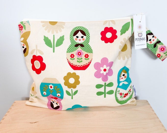 The ICKY Bag - wetbag - PETUNIAS by Kelly - natural babushka doll