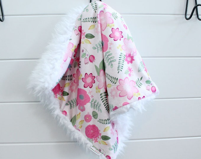 Lovey Blanket pink flower floral faux fur minky READY TO SHIP baby gift cloud blanket llama newborn gift plush photo toddler child