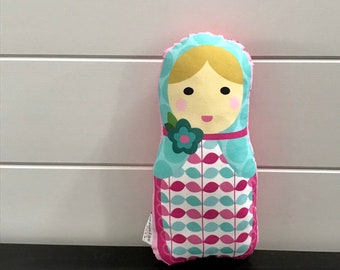 PETUNIAS' Matryoshka Babushka Doll Pillow plush softie baby girl gift photo prop stuffed pink  blond hair