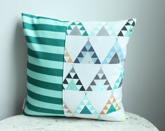 SALE Pillow cover blue teepee 14 inch 14x14 modern  accessory home decor nursery baby gift present zipper closure canvas ready to ship
