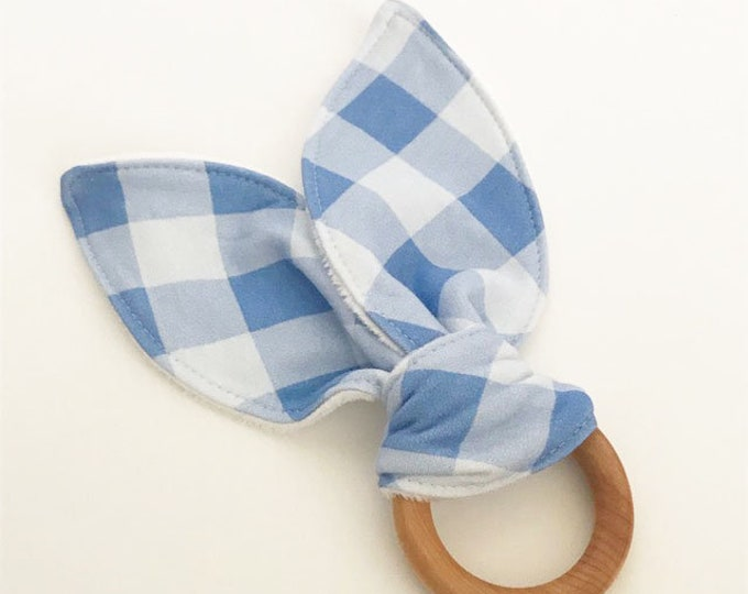 teething ring blue check plaid bunny ears wooden ring teether natural baby shower gift teething toy you pick color unique