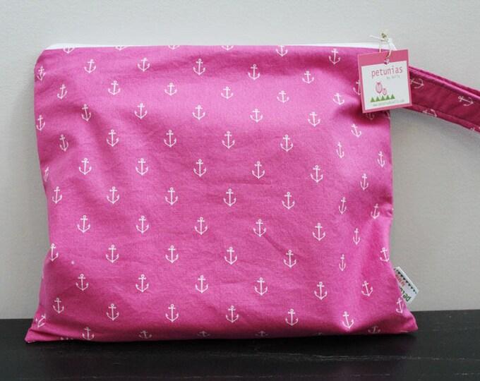 Wet Bag wetbag Diaper Bag ICKY Bag wet proof pink anchor gym bag swim cloth diaper accessories zipper gift newborn baby kids beach bag