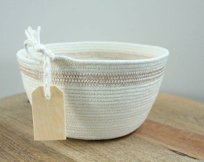 Basket rope coil natural thread metallic copper thread stripe bin storage organizer bowl wooden tag by PETUNIAS