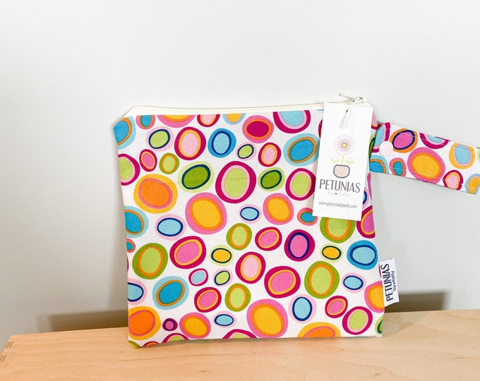 The ICKY Bag petite - wetbag - PETUNIAS by Kelly - bright dots