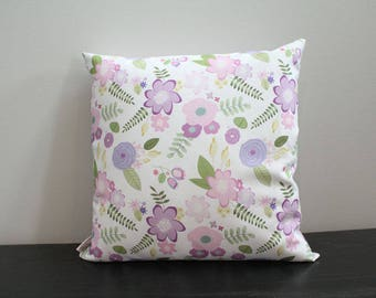 Pillow cover lavender flower floral 18 inch 18x18 modern hipster accessory home decor nursery baby gift present zipper canvas ready to ship