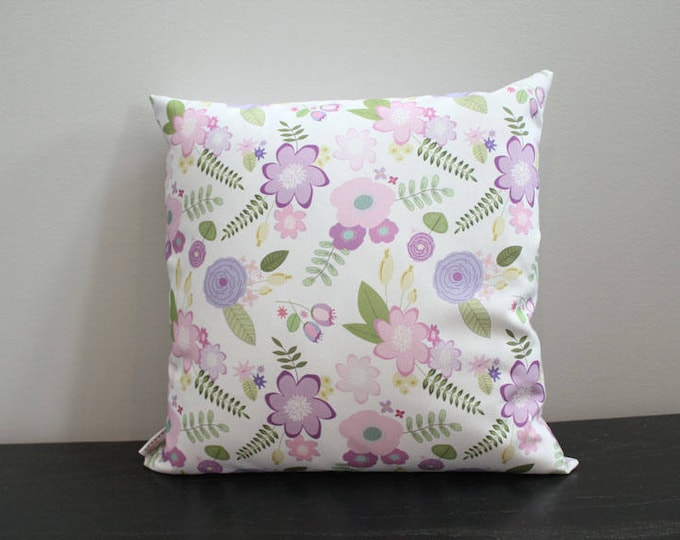 SALE Pillow cover lavender flower floral 18 inch 18x18 modern hipster accessory home decor nursery baby gift present zipper canvas