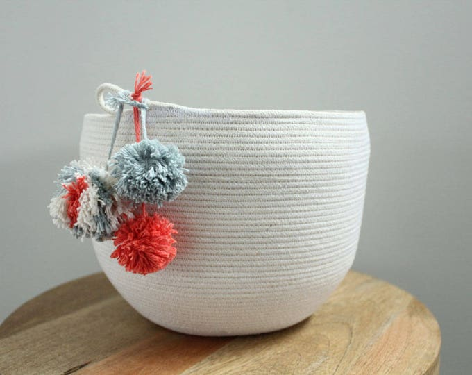 Basket rope coil bin storage organizer bowl pompoms natural grey coral by PETUNIAS
