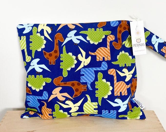 The ICKY Bag - wetbag - PETUNIAS by Kelly - blue dinosaur
