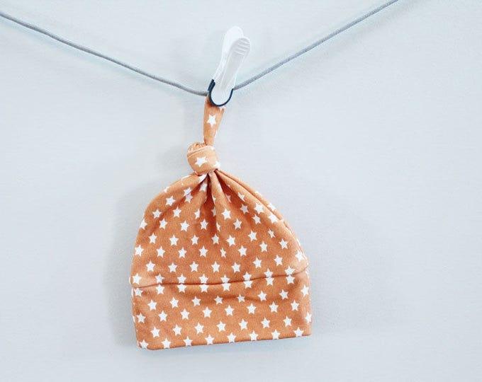 baby hat arrow star orange Organic knot modern newborn shower gift photography prop hospital outfit accessory neutral girl boy