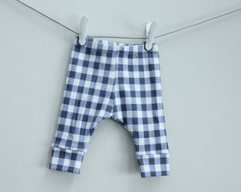 Baby leggings blue buffalo check plaid 0-3 months Organic PETUNIAS modern newborn baby shower gift photo prop hospital outfit accessory