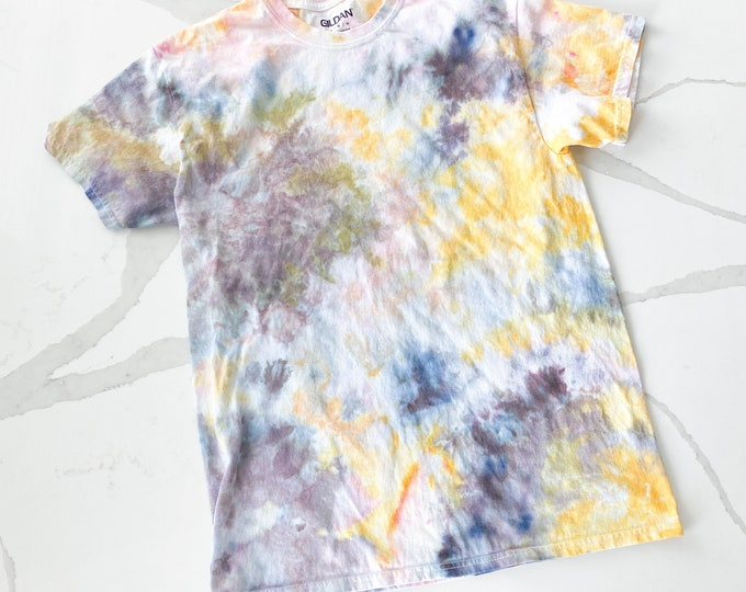 Tshirt- hand dyed - PETUNIAS by Kelly - one of a kind ice dye tie dye