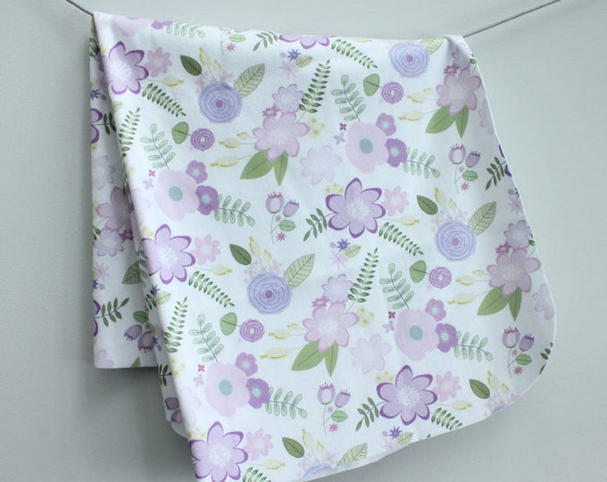 baby blanket swaddle fleece lavender flower floral by PETUNIAS newborn hipster modern baby shower gift photo prop wrap cotton boy nuetral