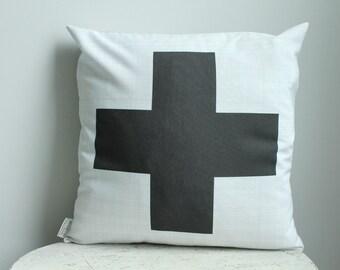 Pillow cover 18x18 pillow case plus cross gray black home decor bedroom decor gift unique custom