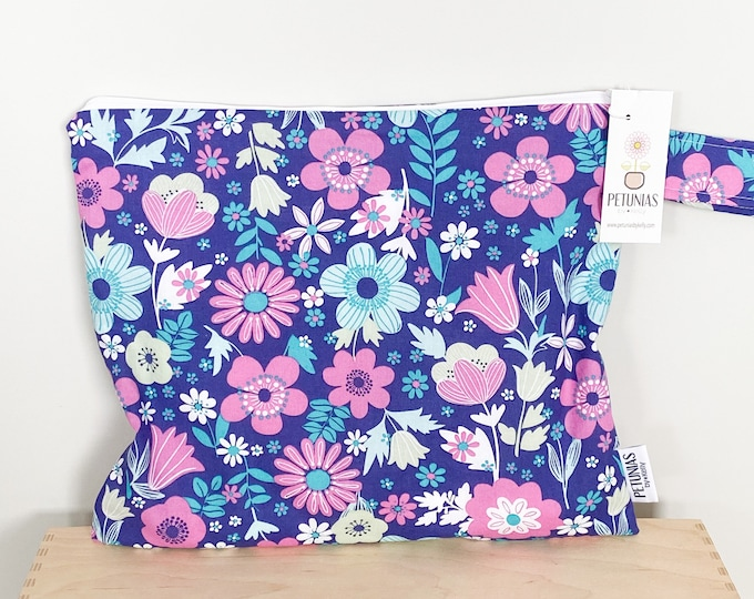 The ICKY Bag - wetbag - PETUNIAS by Kelly - berry floral