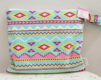 SALE Wet Bag wetbag Diaper Bag ICKY Bag aztec PETUNIAS gym bag swim cloth diaper zipper shower gift newborn baby child kids summer